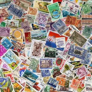100 unchecked old and recent randomly selected postage stamps