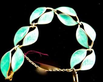A David Andersen Norway bracelet in sterling enamel in tourqoise modernist viking leaf design 1950s