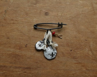 pacem badge #4, oxidized sterling silver pin