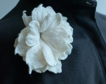 White Ruffled Felt Flower Wedding Hair Accesory