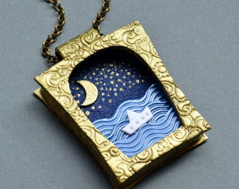 Celestial Sea necklace Inspirational women gift Sea pendant Sea jewelry Blue necklace 3D necklace Polymer clay jewelry Unusual necklace