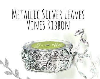 Metallic Silver Leaf Ribbon, Leaves Vines Ribbon, Packaging Ribbon, Hair Ribbon, Gift Ribbon, Decoration, Gift Wrap Supply, Wedding Supplies