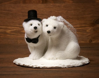 Polar Bear Winter Wedding Cake Topper