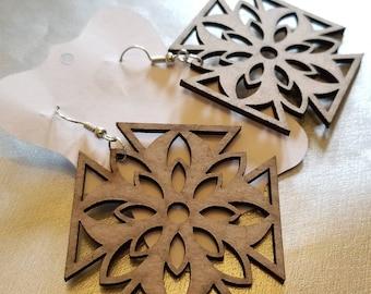 Pointed Wooden Medallion Earrings