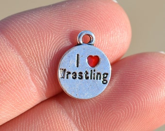 5 Silver I Love Wrestling Charms SC2062