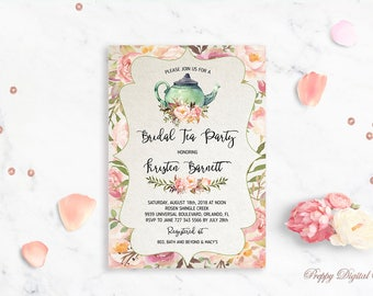 Bridal shower tea etsy bridal shower tea party invitation printable bridal tea party invite rustic bridal shower wedding shower rustic filmwisefo Images
