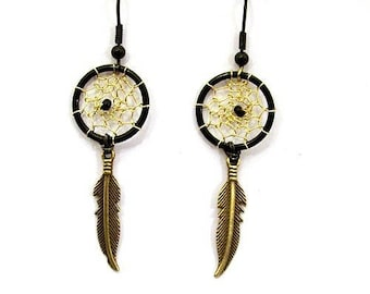 Earrings dream catcher or dream catcher black and gold