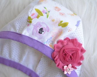Hat with Mesh Sides & Snaps,Floral Baby Bonnet, Pilot Hat, Baby Girl Floral Hat,LilNells Hat for Babies with Hearing Aids,Floral Mesh Hat