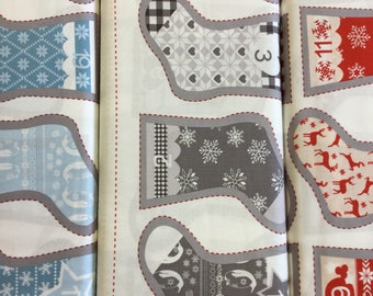 FabricFreedom Nordic Christmas  Stocking FF186 by the 60 cm Panel metre in Red, Blue or Grey