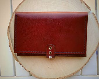 Handmade leather woman wallet with engrave, leather purse, red wallet