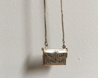 Love Letter Silver Etched Floral Envelope Necklace