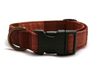 Chestnut pet collar - Brown striped dog collar - Wide striped pet collar - Chestnut red / brown wide striped adjustable dog collar
