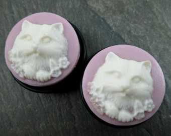 "Cat Plugs - 1"" 25mm Gauges - Cat Cameo - Plug Earrings - One Inch Kitty Plugs - Cat Jewelry - Choose Color - Cat Lady Gauges"