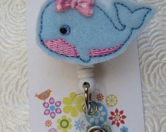 Little Blue Whale Badge Reel - Retractable Badge Reel - ID Badge - Name Badge Holder