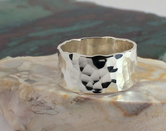 Hammered 10mm Wide Band Ring, Sterling Silver, Made to Order