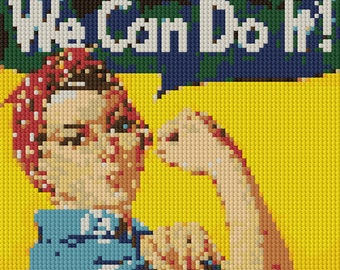 Rosie the Riveter full color counted Cross Stitch Pattern - download