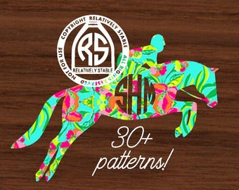 Lilly horse decal, Lilly  hunter jumper decal,  jumping horse decal, equestrian monogram