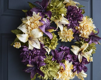 Gorgeous Wreath | Dahlia & Lily Wreath | Easter Wreath | Front Door Wreaths | Spring Wreath | Housewarming Gift | Outdoor Wreath | Wreath