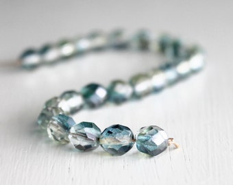 25 Blue/Clear/Topaz 8mm Faceted Rounds Czech Glass Beads, Fire Polished Beads, 8mm Beads, 8mm Faceted Beads