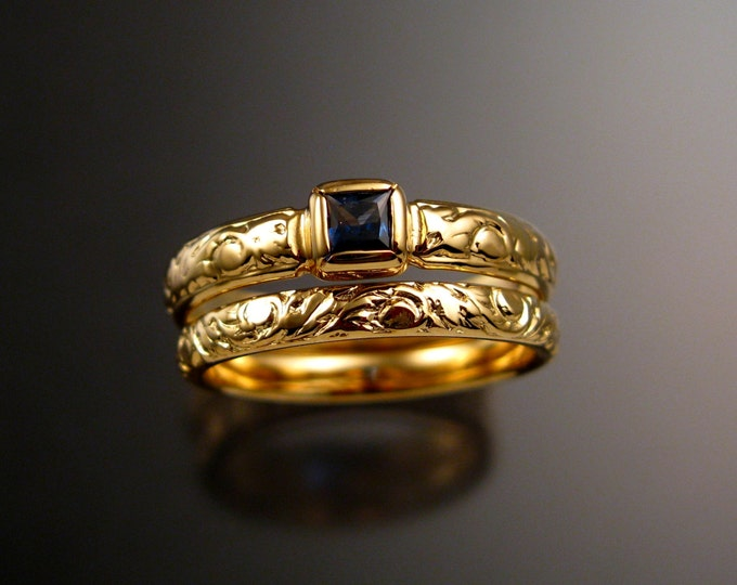 Sapphire Square cut Cornflower blue Natural stone Wedding set 14k Yellow Gold Victorian bezel set  ring made to order in your size
