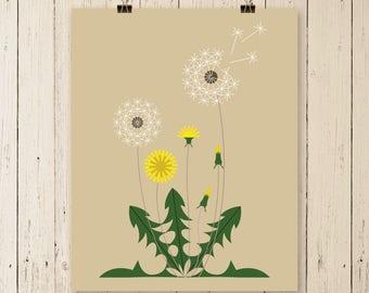 Dandelion, dandelion art, dandelion print, dandelion artwork, dandelion art print, flower art, flower art print, home wall art,apartment art
