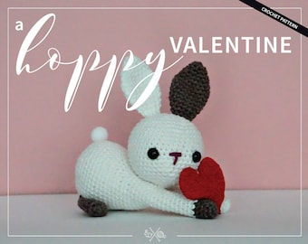 Valentine's Bunny Crochet Pattern PDF - Love Rabbit Amigurumi