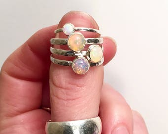 Opal  Stacking Rings (6mm stone)