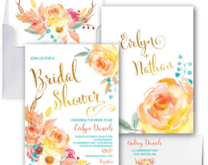 Fall Bridal Shower Invitation // Roses // Floral // Fall in Love // Blue // Orange//Gold Foil//Yellow// Watercolor // CAPE BRETON COLLECTION