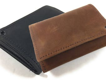 Mens Basic Trifold Wallet, Genuine Leather, Mens Wallet, Durable Wallet, Made in USA