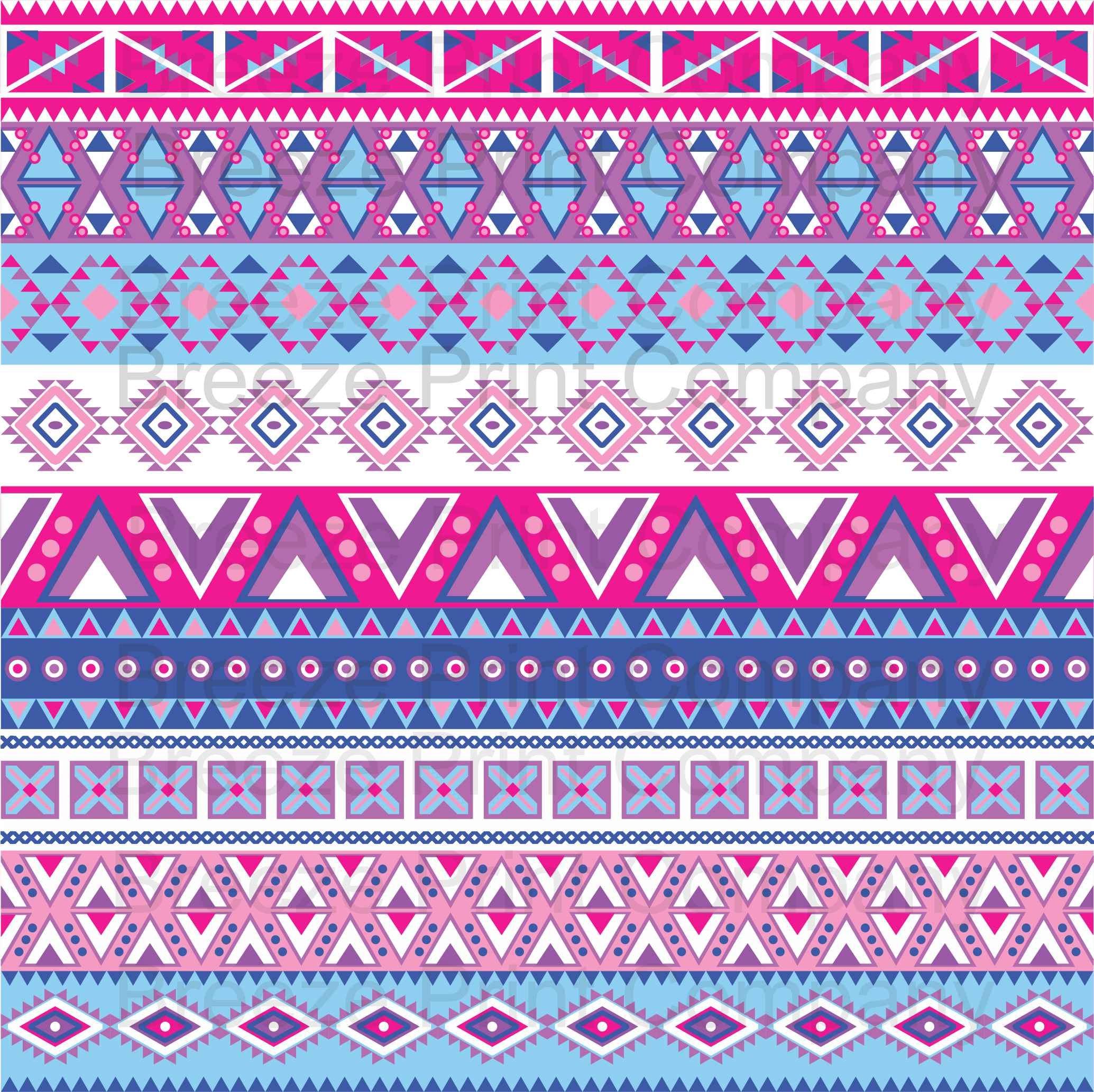 Magenta Blue Purple Pink Aztec Tribal Pattern Craft