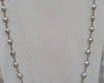 Vintage Sarah Coventry Faux White Pearl and Goldtone 25 3/4 Inch Necklace for Wedding, Prom or Work, Signed, Made in 1980s
