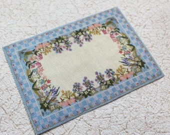 Miniature Rug for Dollhouse Blue Check and Floral  in 1:12 Scale