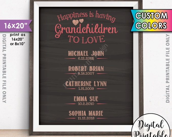 Grandparent Gift, List of Grandkids Gift for Grandparents Gift, Grandma Grandpa Grandchildren Sign, PRINTABLE Chalkboard Style Digital File