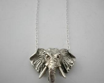 Sterling Silver Necklace Elephant Head