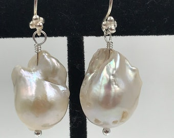 Large White Baroque Pearls on 925 Sterling Ear Wires