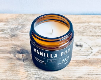 Vanilla - Scented Natural Soy Wax Candle In Amber Glass Jar