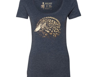 Pangolin Tri-blend Scoop Neck T-Shirt, 10% donated to animal causes