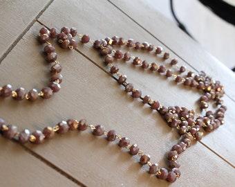 Double Wrap Mauve Necklace