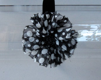 Black and White Polka Dot Chiffon Beaded Flower Satin Headband, for weddings, parties, special occasions