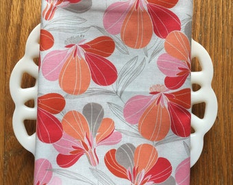 Red and Peach Floral Cloth Napkin