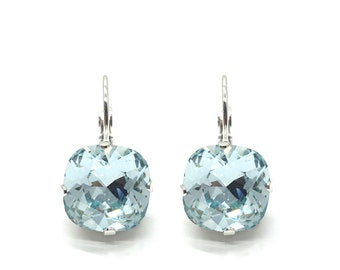 Earrings ' The square ' 12 mm silver with Swarovski crystals ' light Azores '