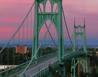 Portland, Oregon - St. Johns Bridge Sunset - Lantern Press Photography (Art Print - Multiple Sizes Available)