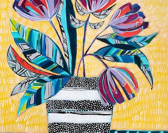 Patterned Florals, ORIGINAL 16x20 Acrylic on Canvas, Painting of Florals