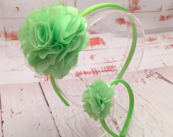 Lime Green Dolly and Me Headband Set, Mommy & Me, Doll and Child Matching Headband Set, My American Girl Doll Headband Set