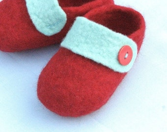 Red and Mint Green Baby Booties/Slippers/Shoes with Strap