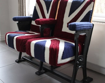 british flag furniture. Union Jack Knit Vintage Cinema Seats, Theatre Hall Furniture, Industrial Style, Bespoke Upholstery, British Flag Furniture