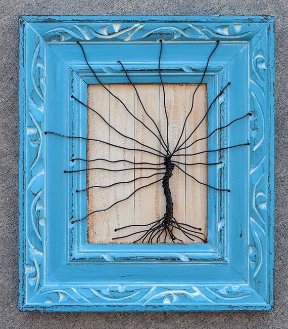 Framed tree wall art / wire sculpture Unique Art Decor Tree