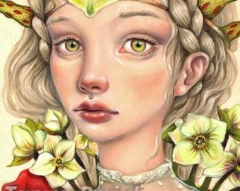 Winter Sun -  surreal pop fantasy art portrait flower girl princess  5x7 print of original painting by Tanya Bond