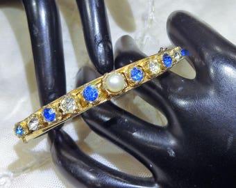 Pretty Vintage Faux Pearl, Blue and Clear Rhinestone Hinged Bangle