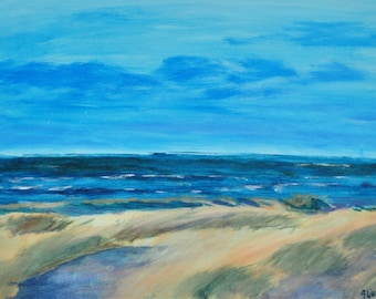 "Original painting ""beach of Terschelling II""in acrylic on canvas 30 x 40 x 1.5 cm"